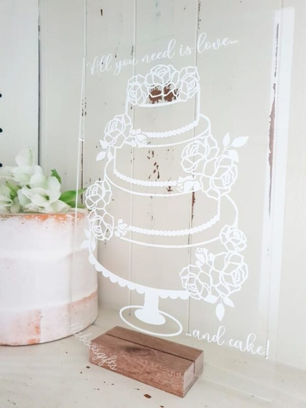 4 tier cake sign