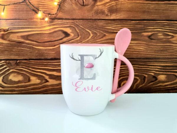 Pink spoon reindeer initial mugjpg