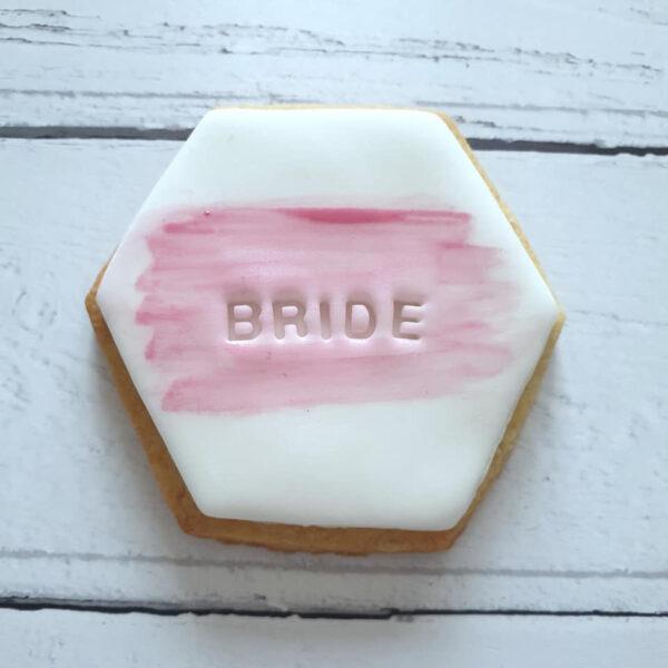 bride pink hexagon cookie favour